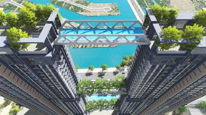 Tại vị trí tầng thứ 41 chính là bể bơi vô cực được thiết kế giữa 2 tòa tháp