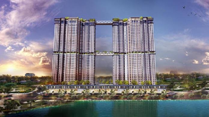 Tòa tháp đôi 41 tầng được xem như điểm nhấn nổi bật của dự án Sky Oasis Ecopark