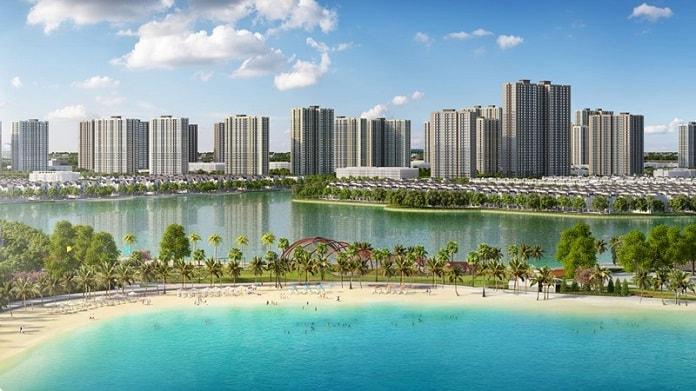 Dự án được bao quanh bởi biển nước mặn nhân tạo với bờ cát trắng, dài