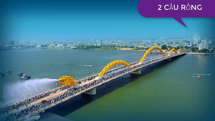 Hình ảnh ghi lại cảnh Cầu Rồng Đà Nẵng phun nước